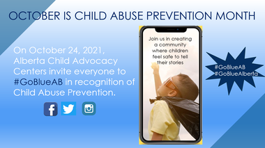 october is child abuse prevention month, wear blue on October 24